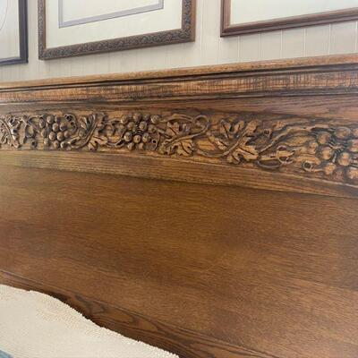 Oak Arts & Crafts style wood bed, carved grapes with temperpedic mattress included