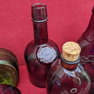 Antique whiskey bottle collection