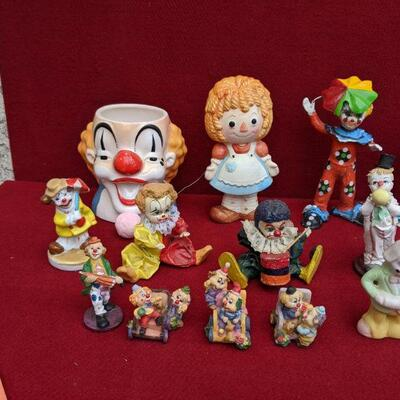 Vintage clown figurine collectibles