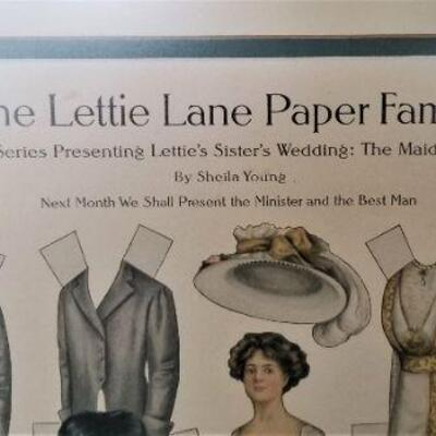 Lot #24  Vintage Lettie Lane Paper Family - uncut in frame - 1908