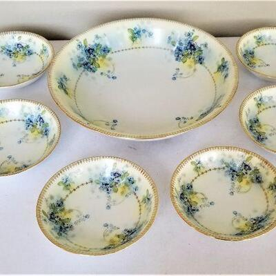 Lot #30  Antique Berry Set - Serving Piece with six bowls
