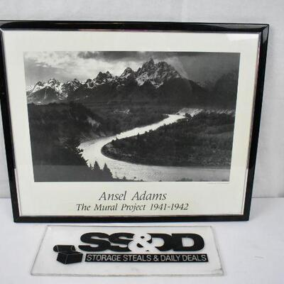 Framed B&W Image, Ansel Adams The Mural Project 1941-1942 Print 16x20