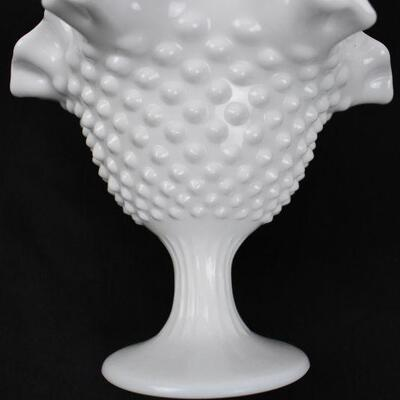 White Glass Hobnail Candy Dish - Vintage