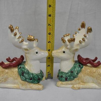 2 pc Reindeer Candle Holder Figurines, Ceramic