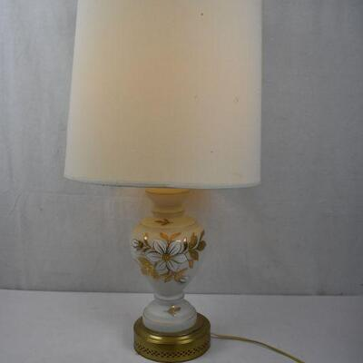 Table Lamp, White glass with Gold/Brass Accents. Large Shade. Works. Vintage