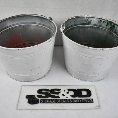 2 Rustic White Metal Buckets with Handles