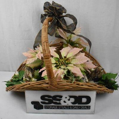 Basket Decor with Faux Flowers & 2 Birds
