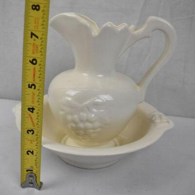 2 pc Ceramic Pitcher & Bowl, Cream Color, No markings. Grapes Design