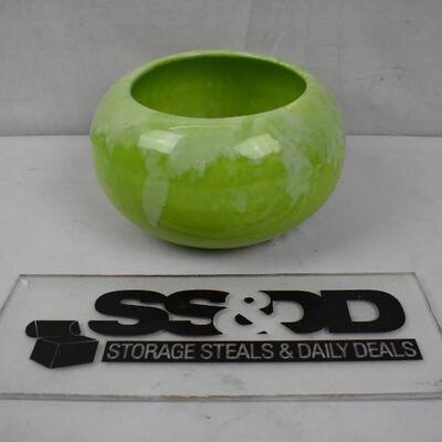 Green Glass/Ceramic? Planter Bowl