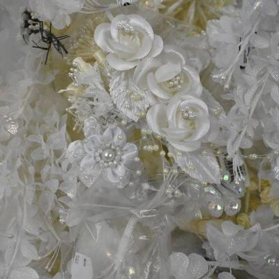 White Ribbon & Faux Flowers for Corsages & Boutonnieres, in clear/blue bin