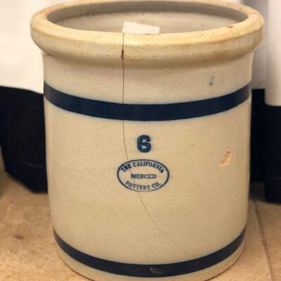 Lot 1 6gal CA Merced Pottery Co. Crock