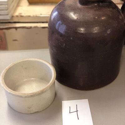 Lot 4 Antique Brown Jug & Mini Crock Stoneware