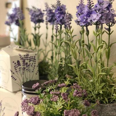 Lot 23 Lavender Candles & Faux Decor Plants