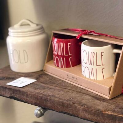 Lot 24 Rae Dunn New Couple Goal Mugs & Hold Canister