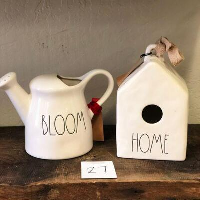 Lot 27 Rae Dunn New Home Birdhouse & Watering Can