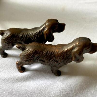 Small pair of Bronze Spaniel or Setter Dogs