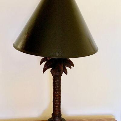 AEC 196  FIGURAL PALM TREE LAMP BLACK SHADE
