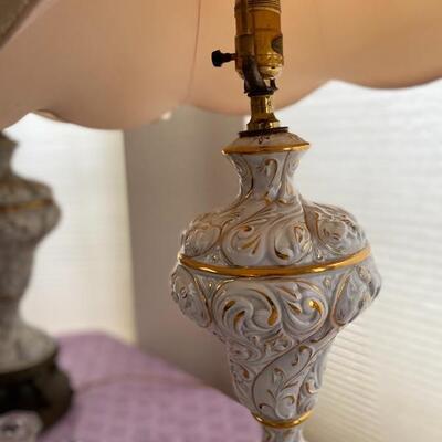 Pair of vintage porcelain lamps