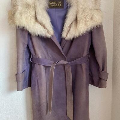 Dan di modes vintage suede and fur coat