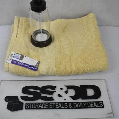 2 pc Bath: Bath Towel, Solid Yellow & Clear/Bronze Soap Pump - New