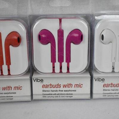 Qty 5 Earbuds with Mic by Vibe: 1 red, 2 pink, 2 white - New