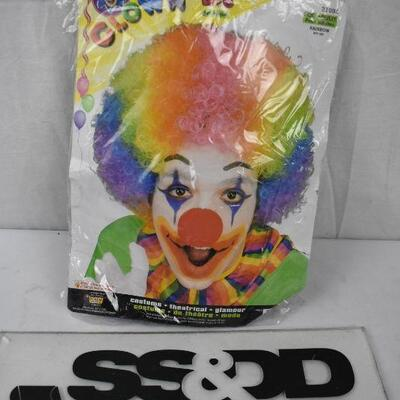 Colorful Rainbow Clown Wig, adult size - New