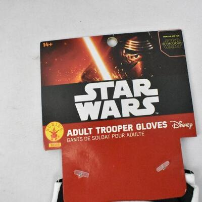 2 pairs of Star Wars Costume Gloves, adult Size: Darth Vader & Trooper - New