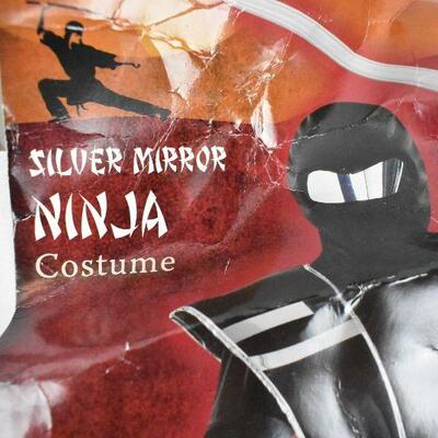 Silver Mirror Ninja Kids Costume, Complete. Damaged packaging. Small (4-6) - New