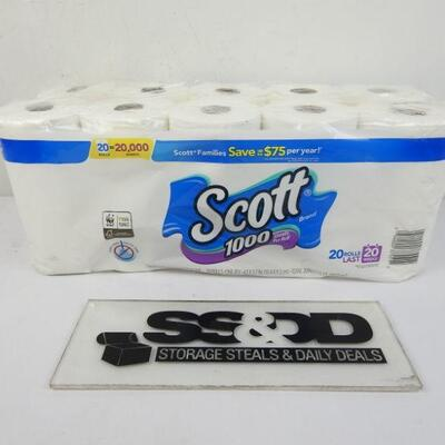 Scott 1000 Toilet Paper, 20 Rolls, 20,000 Sheets - New