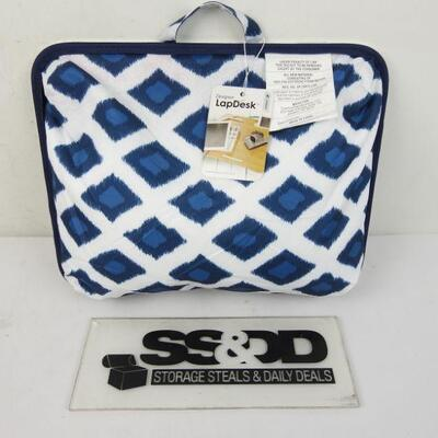 LapGear Designer Lap Desk with Phone Holder and Device Ledge - Navy Ikat - New