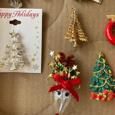 Christmas Jewelry lot pins brooches and bracelets