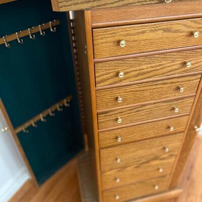 Oak jewelry armoire