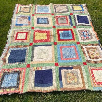 Antique quilt incredible all American red blue