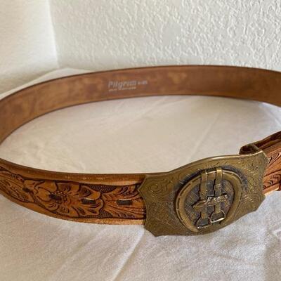 Vintage tooled belt horse buckle