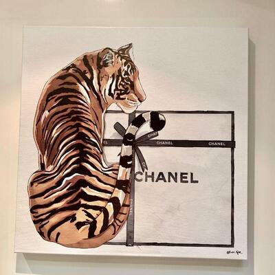 PT3#8  CHANEL TIGER WRAPPED CANVAS WALL ART PRINT