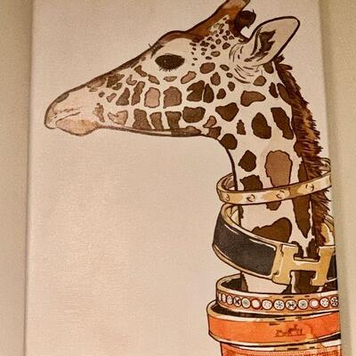 PT3#10  HERMES WRAPPED CANVAS GIRAFFE ART PRINT