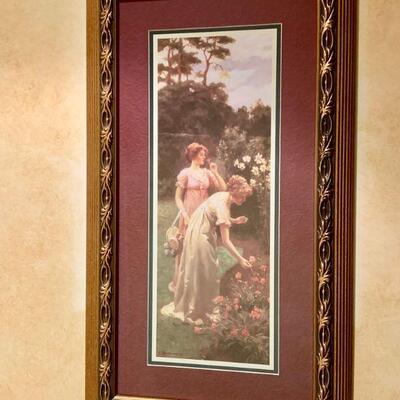 PT3#12  FRAMED ART PRINT RENNESSAINCE LADIES IN A ROSE GARDEN