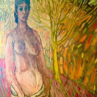 PT3ART   MCM IMPRESSIONISM ORIGINAL OIL ON CANVAS NUDE WOMAN SIGNED MARIL DELANEY
