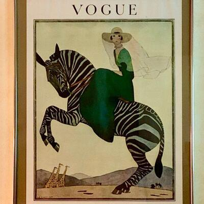 PT3#16   VINTAGE VOGUE MAGAZINE COVER ARTWORK FRAMED PRINT WOMAN ON ZEBRA