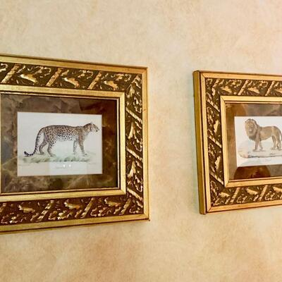PT3#16 DECORATIVE PAIR OF FRAMED ART PRINTS LION & LEOPARD