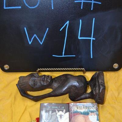 Lot#14 African Peace Wood, Ebony statuette w/Mini-Cat Books in velvet Pouch