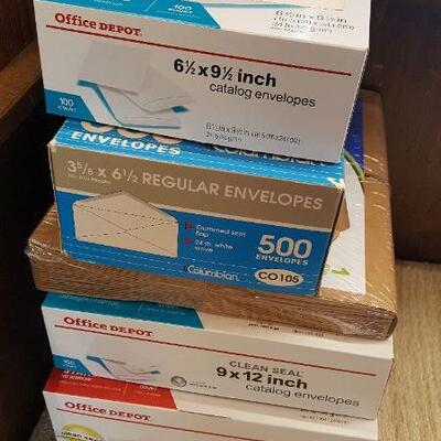 4 Large Boxes of Envelopes + Expanding Files (office bench)