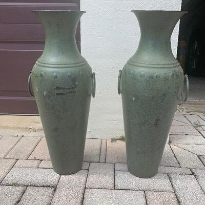 Matching metal modern vases