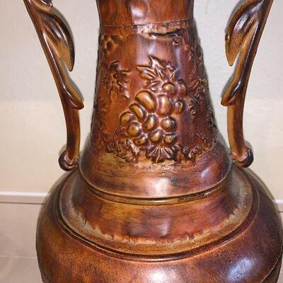 Large metal tin vase