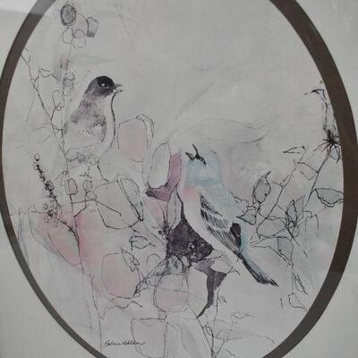 Vintage Bird Print by Barbara Weldon, Framed. Appears to be watercolor & ink