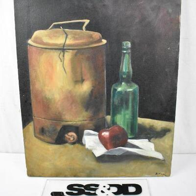 Painting by William S. Linton. Still life jug, bottle, etc. Sketches on the back