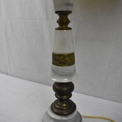 Vintage Lamp, Metal and Stone Base with Dried Flowers on the Shade. Works