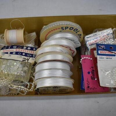 Lot of White Ribbon & White Pearl Beads, etc in Vintage plastic box