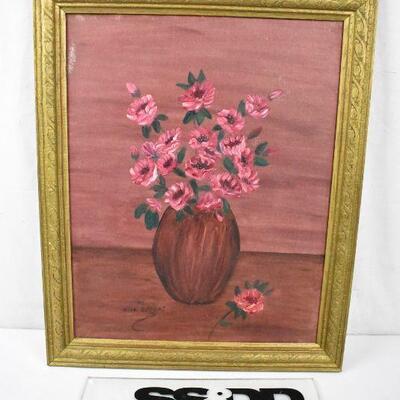 Original Art on Canvas by Helen Mellos, Pink flowers pink background