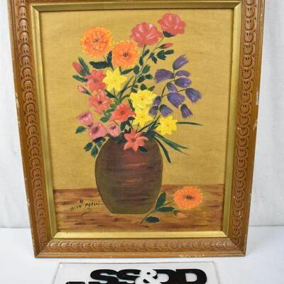 Colorful Floral Arrangement Framed Art - Vintage
